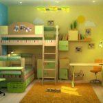 Conception d'une chambre d'enfant pour deux enfants hétérosexuels aux couleurs vertes