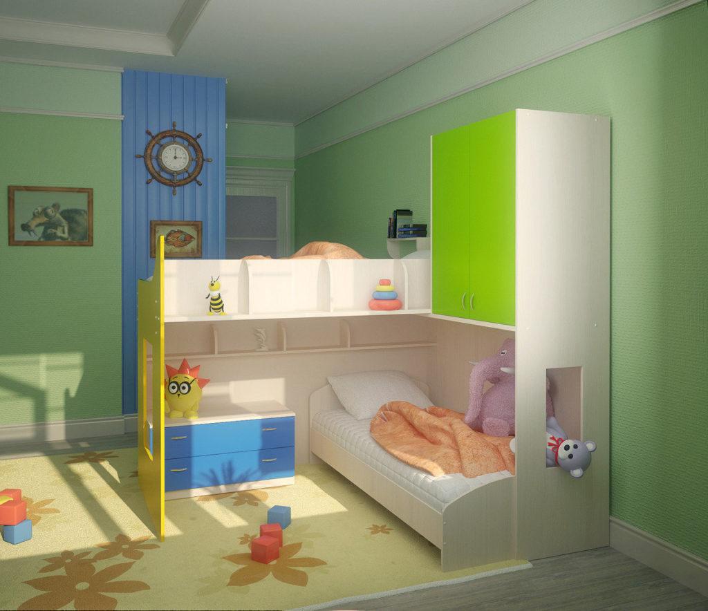 Conception d'une chambre d'enfant pour deux enfants hétérosexuels hauts plafonds