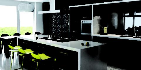 Conception de cuisine dans des meubles ajustés de style contemporain contemporain