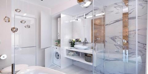 Design de salle de bain high-tech de 6 m²