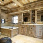 Conception de salle de bain dans une maison privée chalet brutal