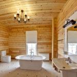 La conception de la salle de bain dans une doublure de maison privée et des carreaux blancs