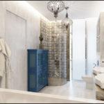 Conception de salle de bain dans une maison privée en marbre et verre