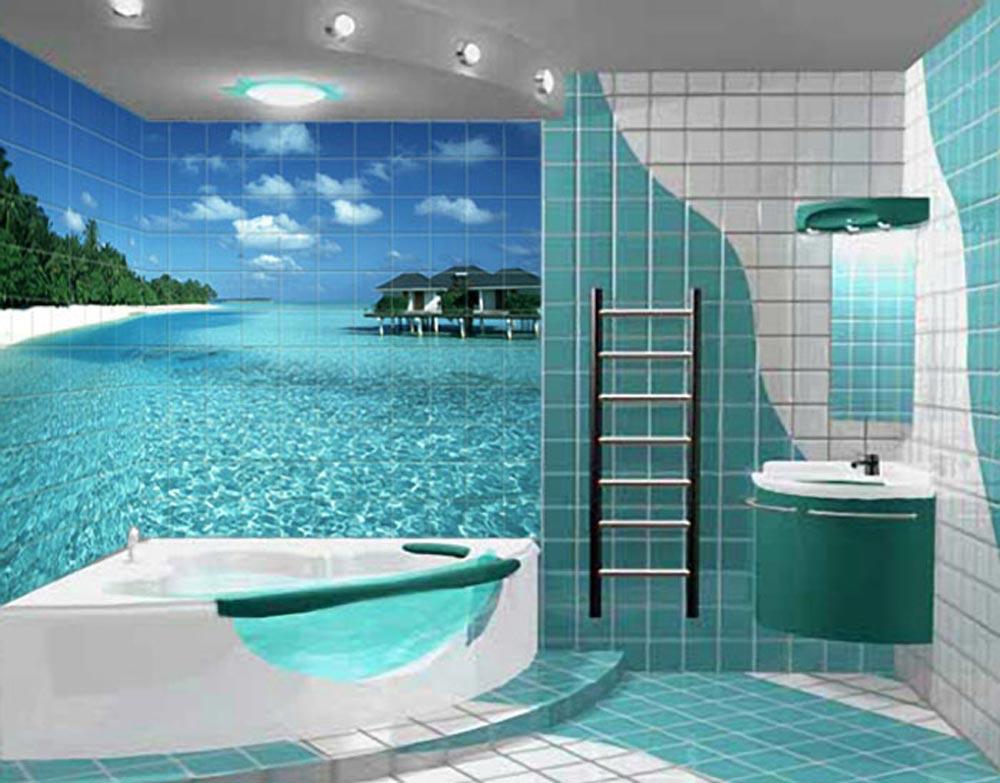 Conception d'une salle de bain dans une tuile de maison privée avec impression photo