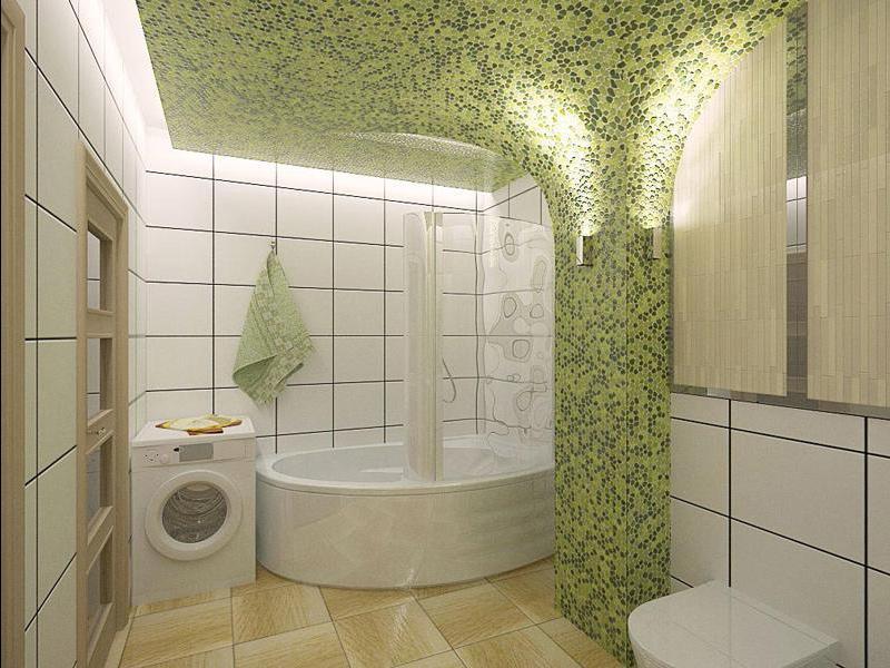 Concevoir une salle de bain dans une maison privée avec de la mosaïque carrelée