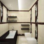 Conception d'une salle de bain dans une maison privée dans des tons blancs et bruns