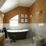 Conception de salle de bain dans une doublure de maison privée et des carreaux de marbre