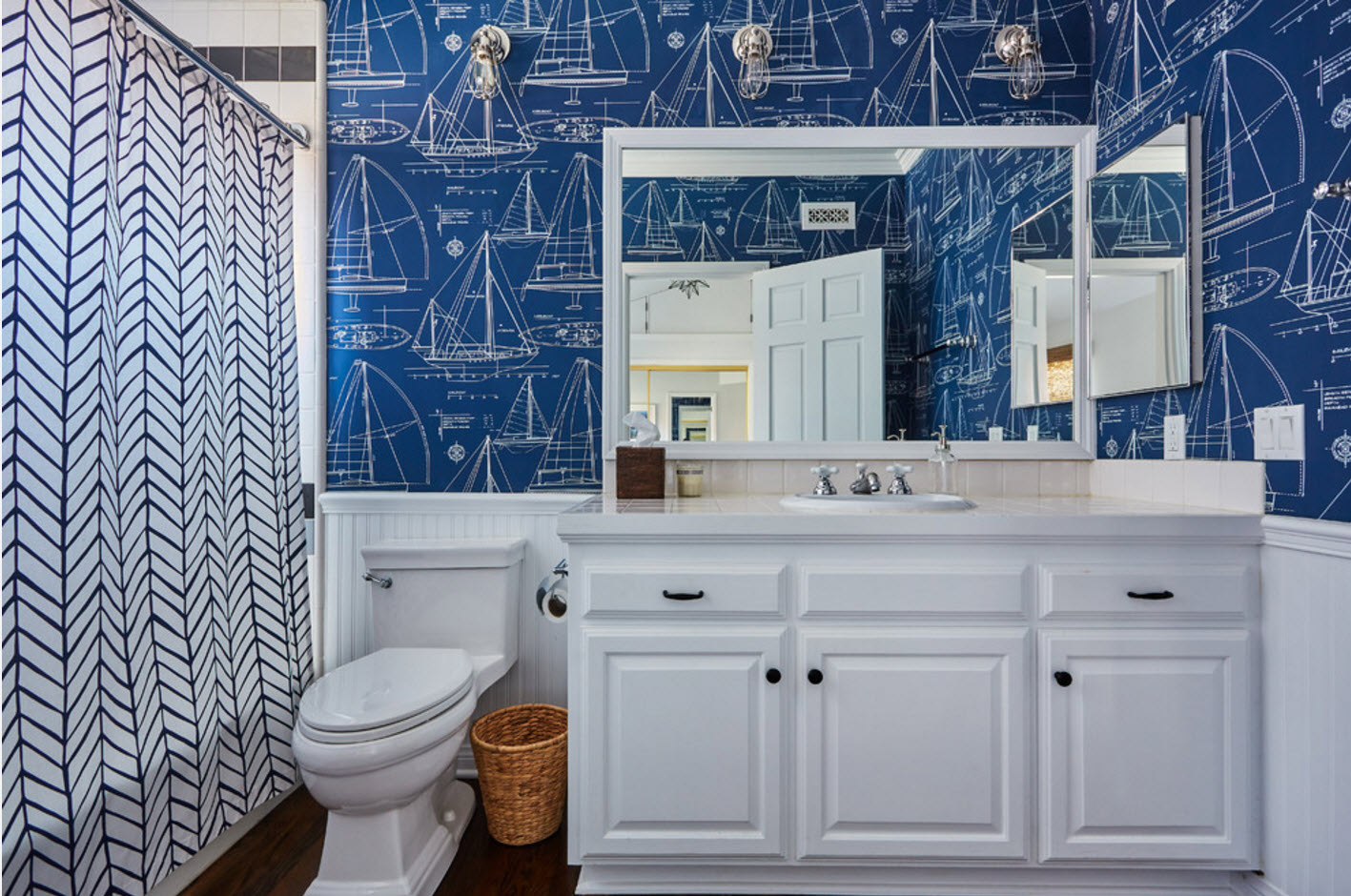 design de bain en bleu et blanc