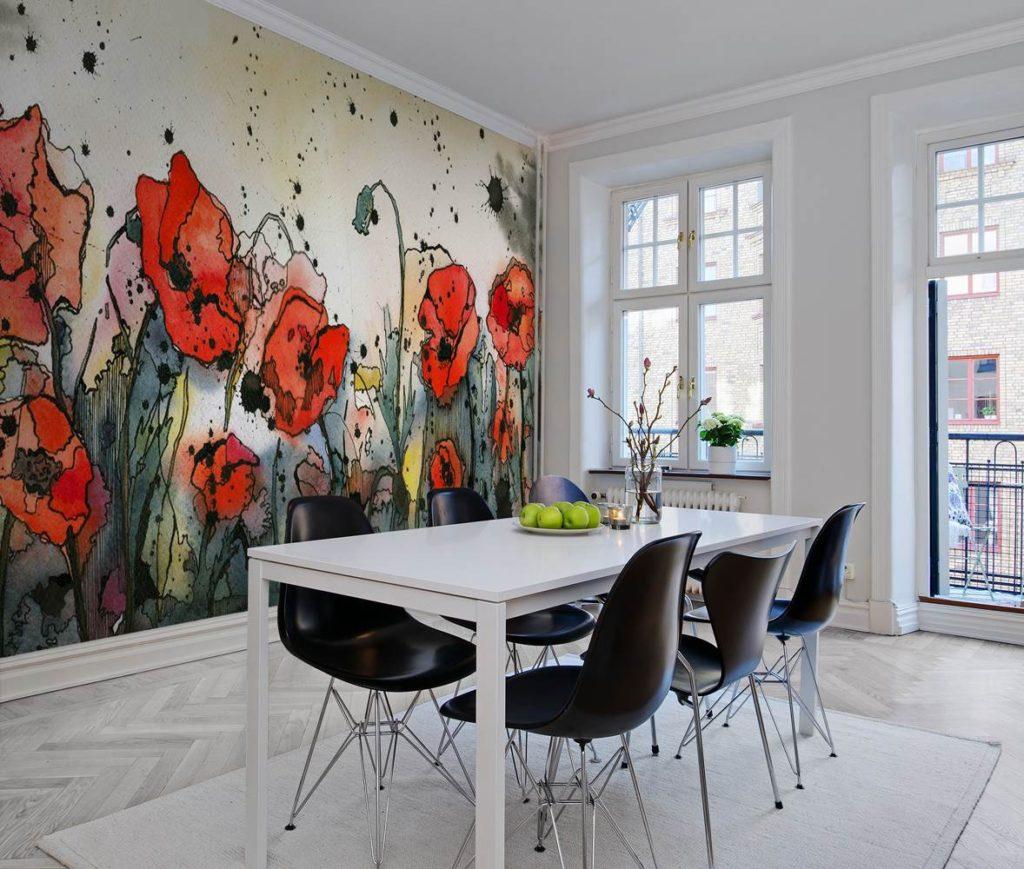 Pictură de perete în interiorul bucătăriei