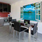 Fotomural în interiorul bucătăriei iluzia 3d a unei ferestre deschise
