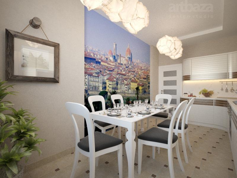 Fotomural bucătărie interioară parte a peretelui
