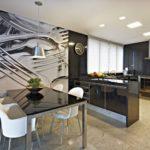 Pictură de perete în interiorul bucătăriei fotografii macro alb-negru