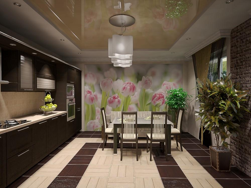 Peretele de perete din interiorul bucătăriei ar trebui să arate armonios