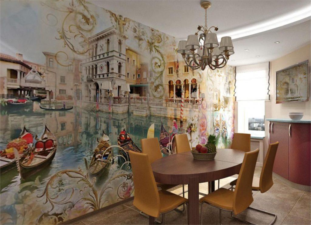 Pictură de perete în interiorul bucătăriei din țesătură nețesută