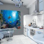 Pictură de perete în interiorul bucătăriei ca o pată de culoare strălucitoare