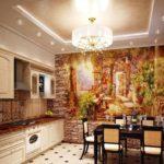 Combinație interioară de bucătărie murală cu piatră decorativă