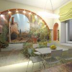 Fotomural bucătărie compoziție interioară cu arc