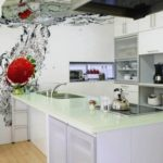 Fotomural bucătărie interioară macro fotografiat în apă cu expunere scurtă
