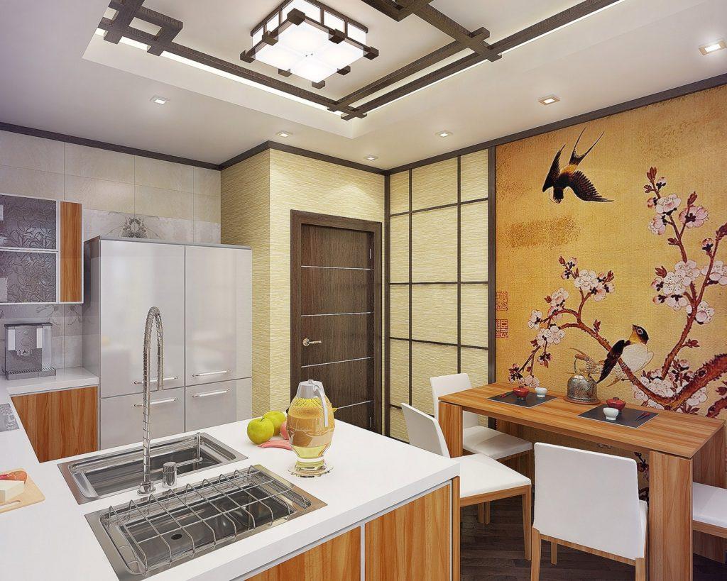 Tapet foto în interiorul bucătăriei pe bază de lipici