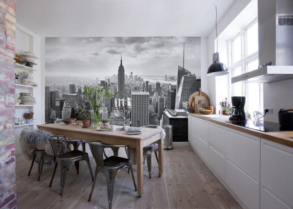 Fotomural bucătărie interior perete complet