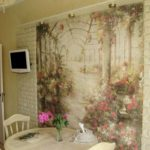 Fotomural bucătărie interioară cu zidărie decorativă din ipsos