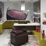 Fotomural interior bucătărie cu accent roșu
