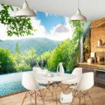 Fotomural interior bucătărie cu peisaj natural