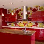 Fotomural interior bucătărie cu paletă roșie strălucitoare
