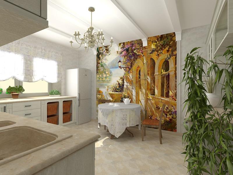 Fotomural bucătărie interioară bază autoadezivă