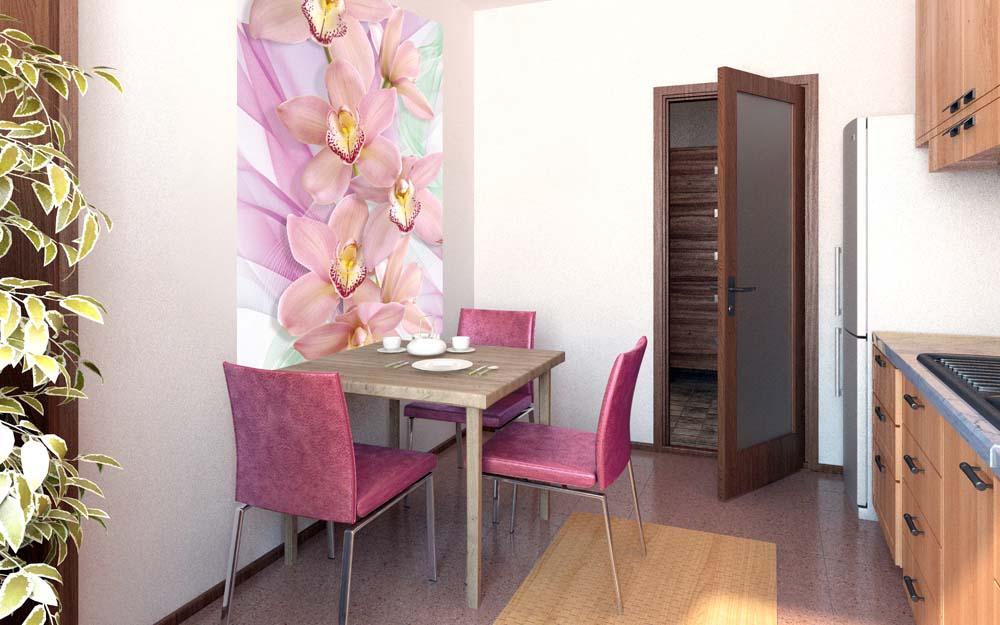 Peretele de perete într-un interior al bucătăriei elimină dezechilibrul culorilor