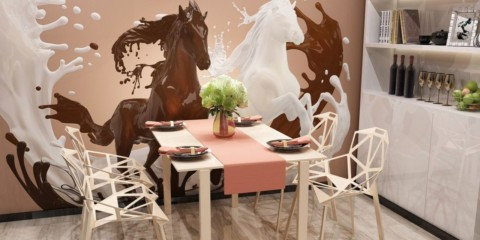 Bức tranh tường trên tường trong nhà bếp với tông màu be