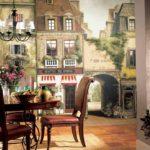 Pictură de perete în interiorul bucătăriei într-un stil clasic