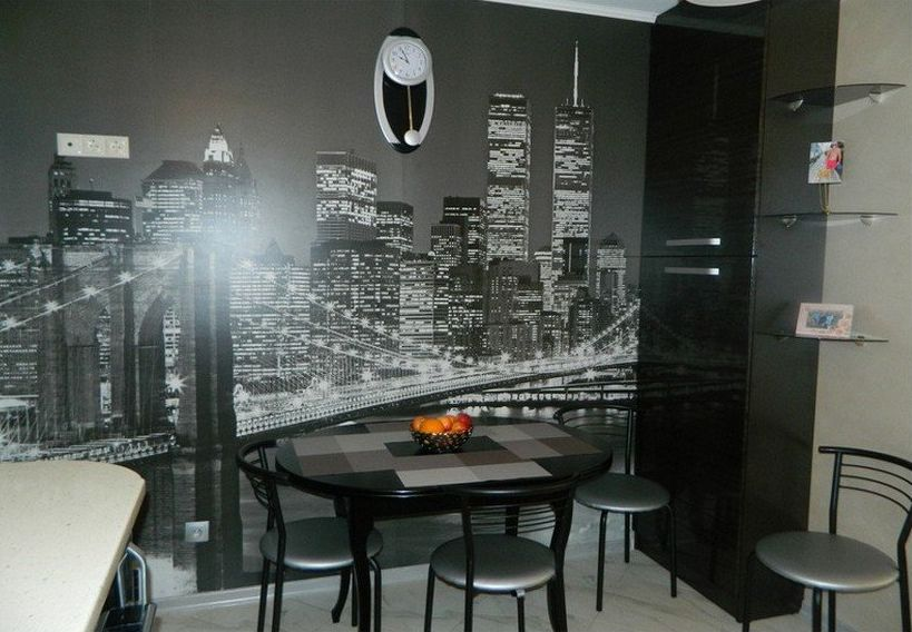 Fotomural perete de înaltă tehnologie în stil interior bucătărie