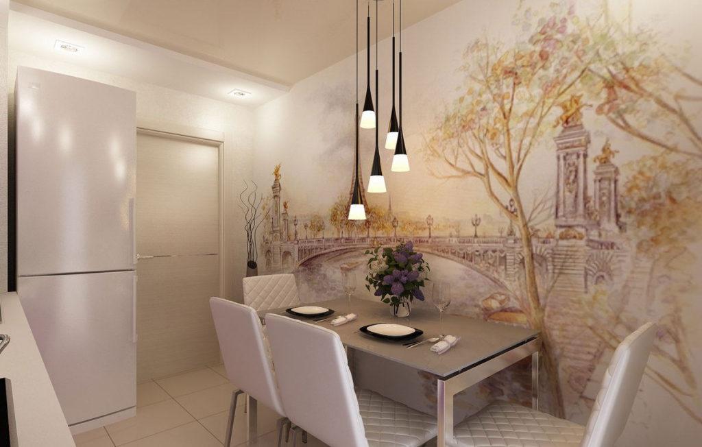 Tapet foto în interiorul bucătăriei în culori strălucitoare