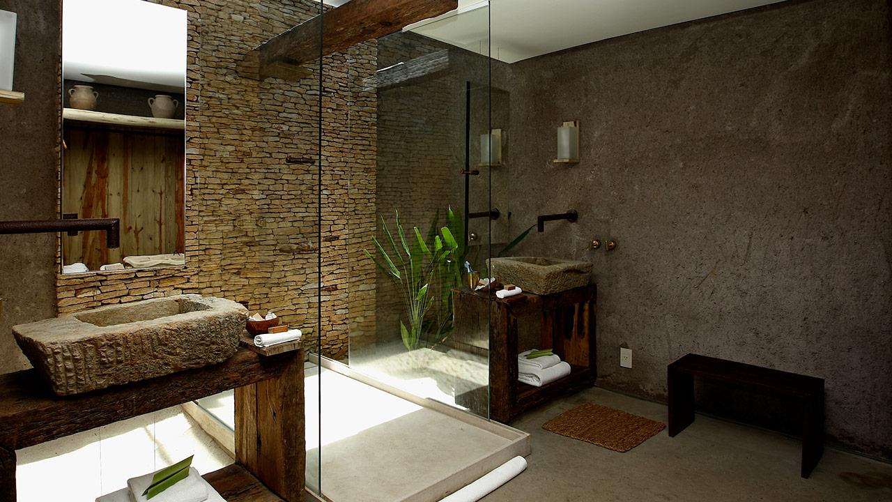 intérieur de salle de bain de style écologique