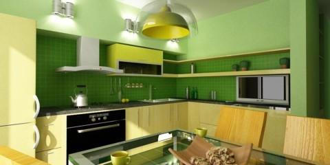 Combinație de culori bucătărie interior verde și galben