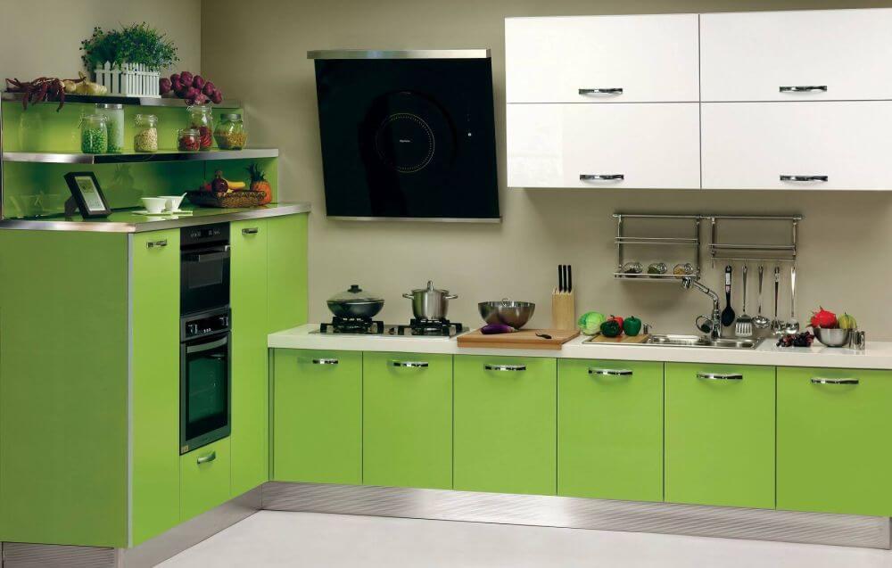 Set de bucătărie modernă, alb-verde