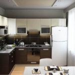 Bucătărie albă modernă pe pereți maro și gri