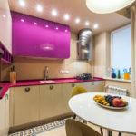 Luciu purpuriu bucatarie moderna