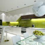 Șorț de bucătărie lucioasă modernă de culoare măslin