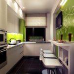 Bucătărie modernă bej mat și verde lucios
