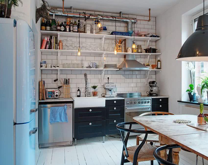 Rafturi deschise de bucătărie moderne