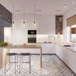Podea de bucătărie modernă în stil patchwork.