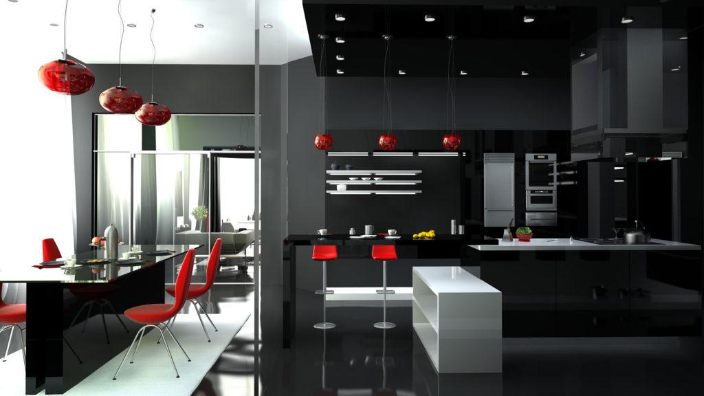 Bucătărie modernă stil de înaltă tehnologie.
