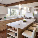 Set modern de lumină de bucătărie podea din lemn și grindă de tavan