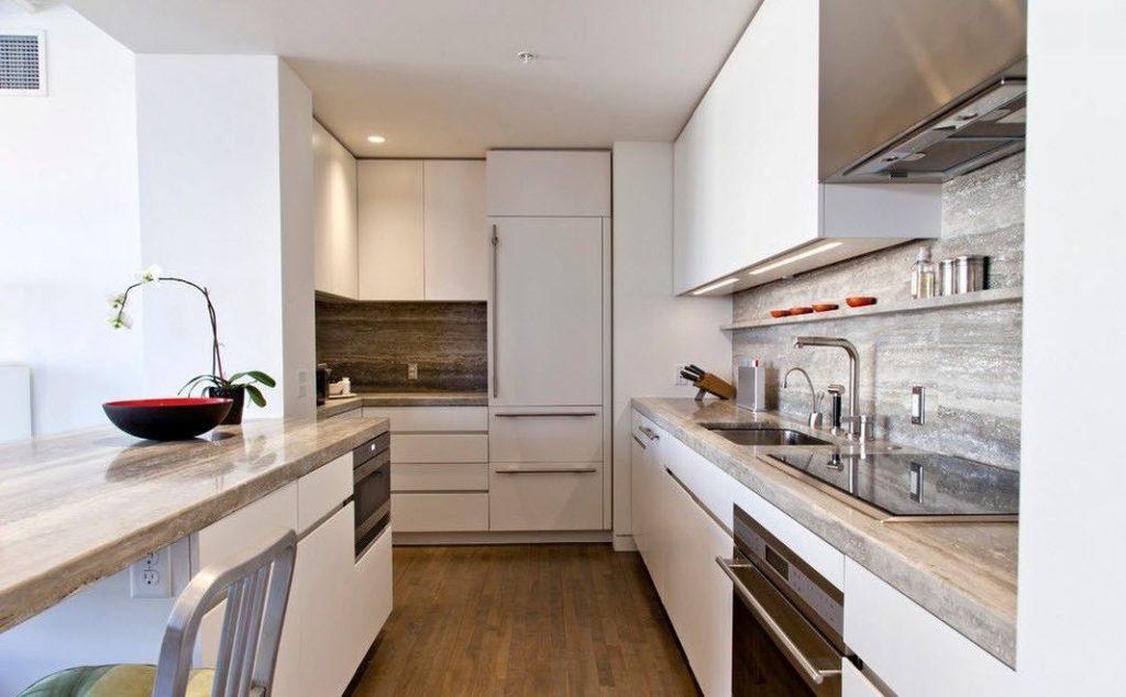 Bucătărie modernă spațiu îngust