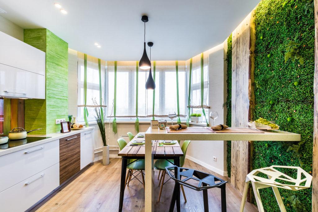 Bucătărie modernă în stil eco.