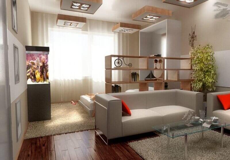 thiết kế phòng khách chia làm 2 khu