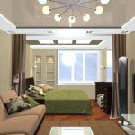 phòng khách kết hợp với thiết kế phòng ngủ