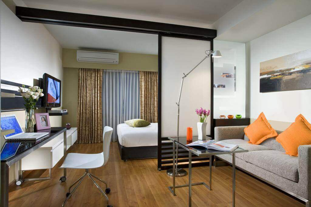 thiết kế phòng ngủ với phòng khách trong một phòng